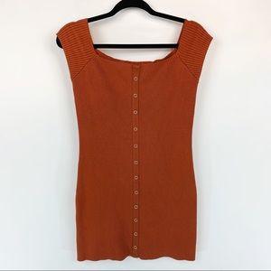FREE PEOPLE Orange Ribbed Off Shoulder Dress Sz M